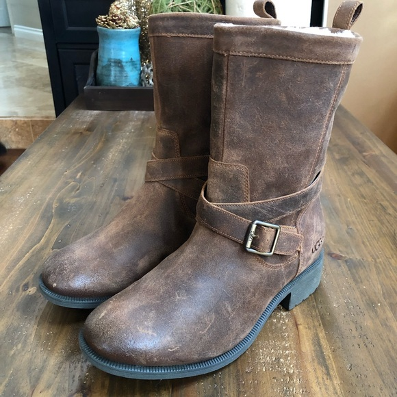 40d23e9d212 UGG Glendale Waterproof Leather Block Heel Boots
